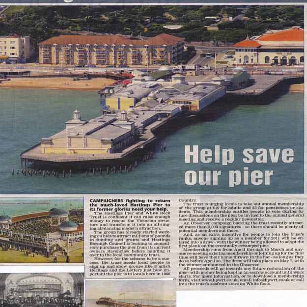 Hastings Observer headline 'Help save our pier'