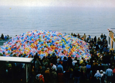 Releasing 30,000 balloons for the opening of the Ice Rink