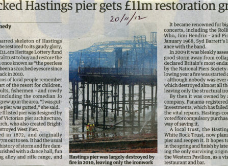 Press article 'Wrecked Hastings Pier gets £11m restoration grant'