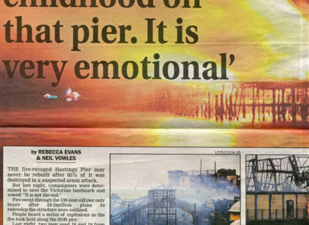 Press article on arrests after Pier fire