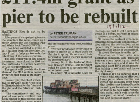 Press article '£11.4m grant as Pier to be rebuilt'