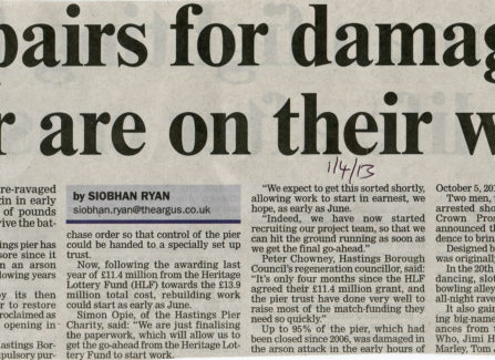 Press article 'Repairs for damaged pier are on their way'