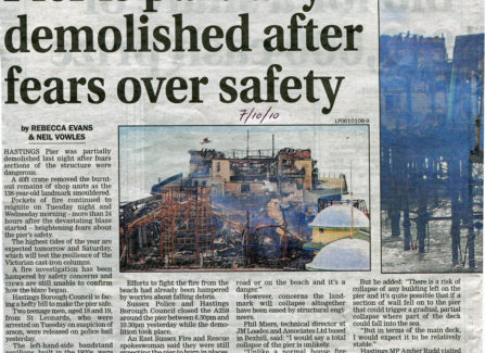 Press article 'Piers is partially demolished after fears over safety'