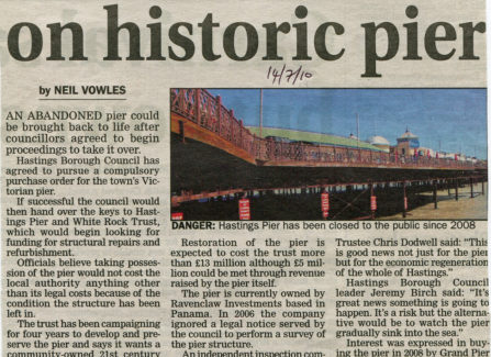 Press article 'Purchase order on historic pier'