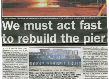 Press article 'We must act fast to rebuild the pier'