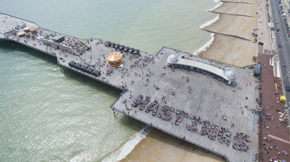 Aerial view of Hastings Pier on Pirate day