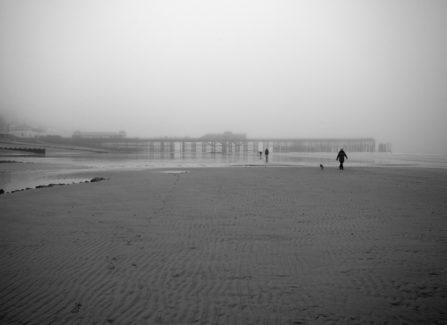Beach and pier on a foggy day