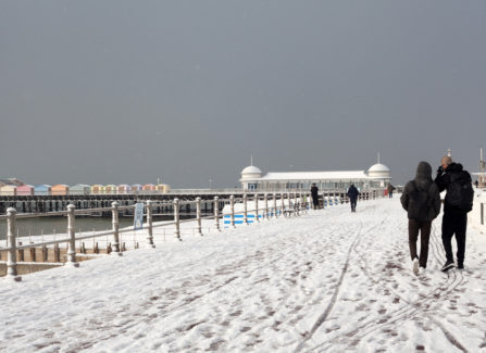Hastings pier in winter