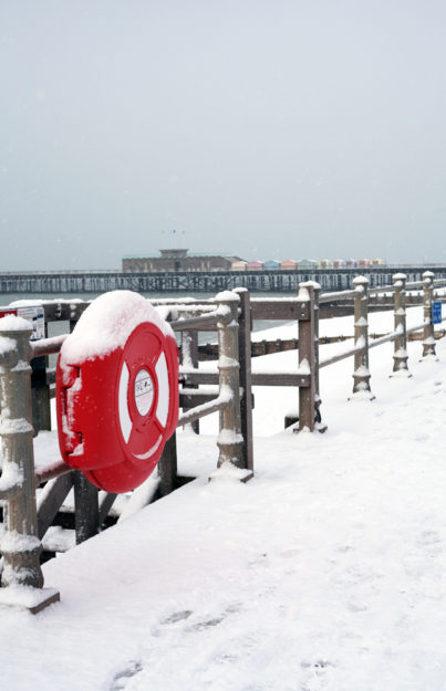 Hastings seafront and pier in winter